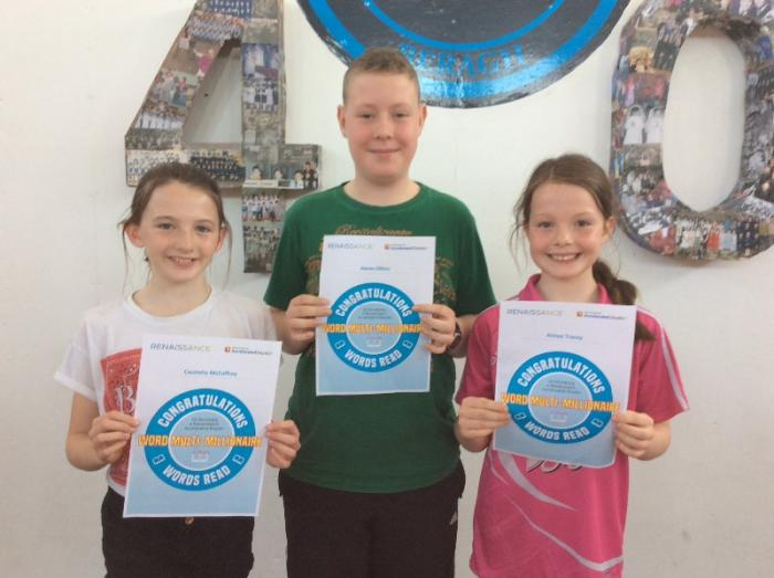 A special word of congratulations to these 3 pupils who today became Multi-Millionaires, a fantastic achievement indeed. One of the children actually became a Quadruple Millionaire over the course of the year, a quite unbelievable achievement and reflective of how much she loves reading, and also the importance attached to reading at home and at school. Well done to all 👏
