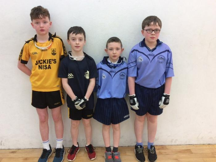 U-11 Doubles team pictured before their game with Loughmacrory PS.